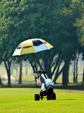 Golfbeutel auf Laufkatze Stockbild