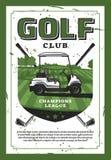Golfbil och golfklubb på den retro affischen för gräsmattavektor stock illustrationer