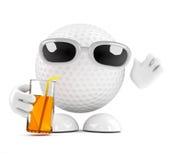 golfboll 3d på partiet Royaltyfria Bilder