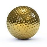 golfboll för guld 3d Royaltyfri Bild