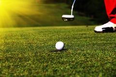 golfboll i golfbana royaltyfri bild