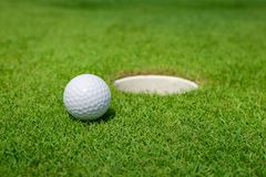 Golfboll ligger på gräsplanen Royaltyfri Bild