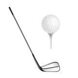 Golfboll och golfpinne på viten Arkivfoto