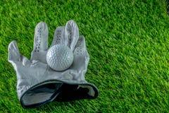 Golfboll och handske på gräs royaltyfri bild