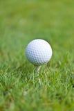 Golfboll och järn på grönt gräs specificerar utomhus- makrosommar Royaltyfria Bilder