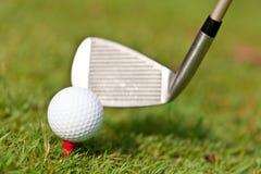 Golfboll och järn på grönt gräs specificerar utomhus- makrosommar Arkivfoto
