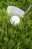 Golfboll och klubba royaltyfri bild