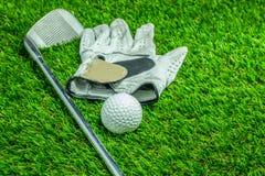 Golfboll och klubba på gräs arkivbild