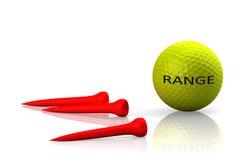 Golfboll och röd utslagsplats på vit bakgrund Arkivbilder