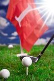 Golfboll och slagträ Royaltyfria Bilder