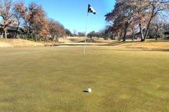 Golfboll och stift på en sättande gräsplan arkivfoto