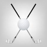 Golfboll och två korsade golfklubbar Royaltyfri Foto