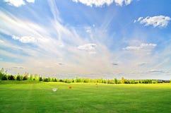 Golfboll på det gröna fältet Fotografering för Bildbyråer