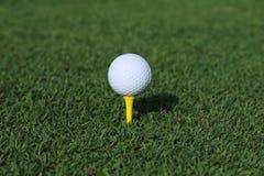 Golfboll på en utslagsplats Fotografering för Bildbyråer