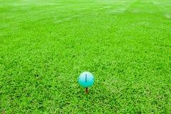 Golfboll på en utslagsplats i kurs för grönt gräs royaltyfria bilder