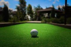 Golfboll på gräset Arkivbild