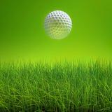 Golfboll på lawn över green stock illustrationer