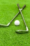 Golfboll på utslagsplats framme av chauffören på grön kurs royaltyfri bild