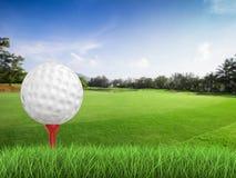 Golfboll på utslagsplatssidosikt Royaltyfri Fotografi