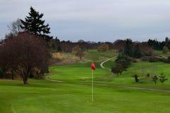 Golfboll på gräsplan med den avlägsna farleden och den krökta vagnsbanan till utslagsplatsasken Royaltyfri Fotografi