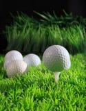 Golfbollen på vitutslagsplats med grönt gräs sätter in Arkivbild