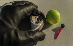 Golfbollklubba och handske arkivfoto