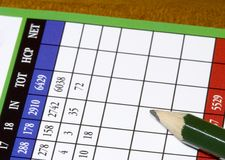 Golfcard2. Close up of empty golf scorecard Royalty Free Stock Photography