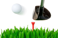 Golfclub die de bal raakt Stock Afbeelding