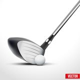 Golfclub en bal op het ogenblik van effect Royalty-vrije Stock Foto