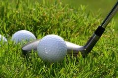 Golfclub met ballen stock afbeelding