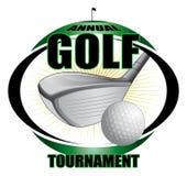 Golfclub-und Ball-Entwurfs-Stern-Explosion lizenzfreie abbildung