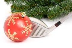 Golfclub-und Weihnachtskugel Stockfotografie