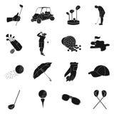 Golfclub vastgestelde pictogrammen in zwarte stijl Grote inzameling van de voorraadillustratie van het golfclub vectorsymbool Royalty-vrije Stock Fotografie