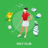 Golfclubconcept Isometrische golfspeler en kleding De elementen van het sportontwerp royalty-vrije illustratie