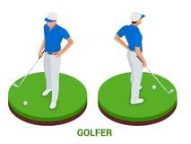 Golfclubconcept Isometrische golfspeler en kleding De elementen van het sportontwerp stock illustratie