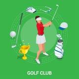 Golfclubconcept Isometrische golfspeler en kleding De elementen van het sportontwerp vector illustratie