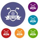 Golfclubemblemikonen eingestellt lizenzfreie abbildung