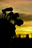 Golfclubs bij dageraad Royalty-vrije Stock Foto