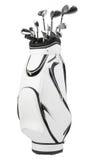 Golfclubs in der weißen und schwarzen Tasche lokalisiert auf Weiß Lizenzfreies Stockfoto