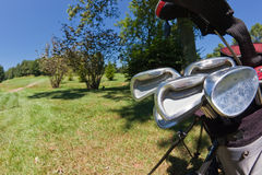 Golfclubs in een zak Stock Foto's
