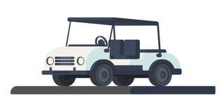 Golfclubwarenkorb Transport für Bewegung während des Spiels und Wettbewerb am Golfplatz Golfmobil oder Auto Vektorillustration I stockbilder