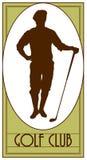 Golfclubweinleseemblem, Logo, Golfspieler, Golflogo, Ausweis vektor abbildung