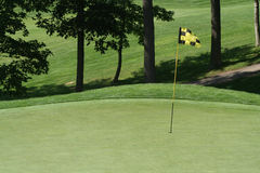Golfcourse Fairway Flag on Green. Hole flag in the cup on a golfcourse green Stock Photography