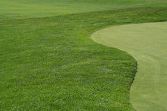 Golfcourse Fairway and Green. The curve of the grass between the fairway and green Royalty Free Stock Photography