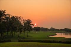 Golfcursus bij zonsondergang Stock Afbeelding