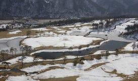 Golfcursus in de Winter Stock Fotografie