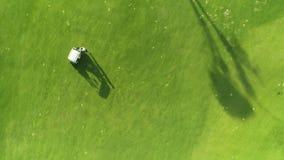 Golfcursus en het speelspel van de kampioensspeler in luxe tropische toevlucht, satellietbeeld Dominicaanse Republiek stock footage