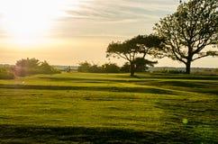 Golfcursus in zonsondergang Royalty-vrije Stock Foto's