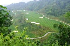Golfcursussen, en het groene gras Royalty-vrije Stock Foto's