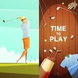 Golfe 2 bandeiras verticais retros ajustadas ilustração do vetor